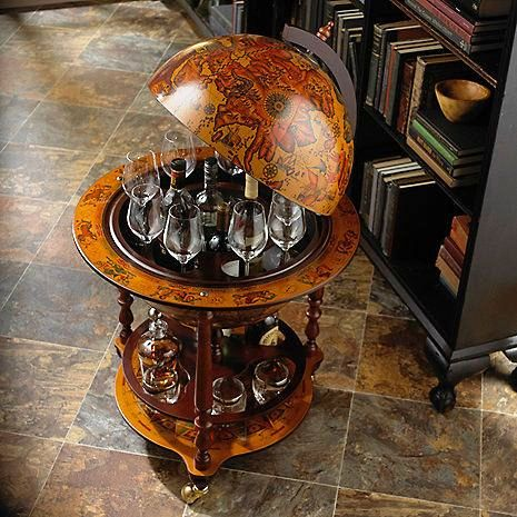 old world vintage globe bar