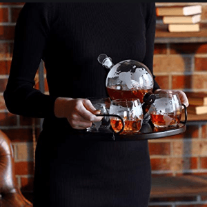 Globe Whiskey Decanter Gift Set