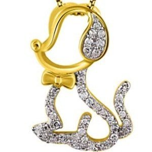 White Gold Diamond Dog Pendant