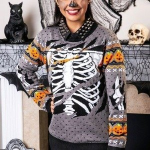 Ripped Open Skeleton Ugly Halloween Sweater