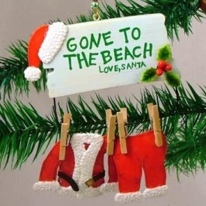 Santa Gone to The Beach Christmas Tree Ornament