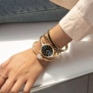 Swarovski Crystal Accented Watch and Bangle Set