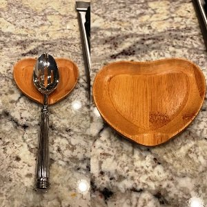 Heart Bamboo Spoon And Rest Set