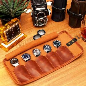 Personalized Leather Watch Roll