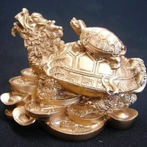 Dragon Turtle Sitting on Chinese Coins Statue