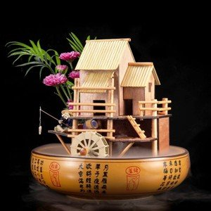House Fountain with Water Wheel